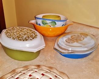 Vintage Pyrex Cinderella bowl and casserole dishes