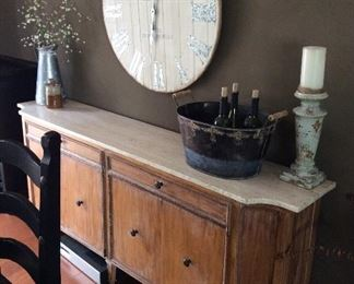 Antique wall buffet marble top