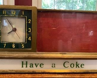 """1950s """"Have a Coke"""" lighted fountain clock; it lights up and runs."""