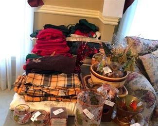 Seasonal tablecloths and glass ware