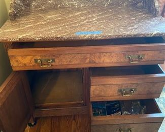 Antique buffet with marble top