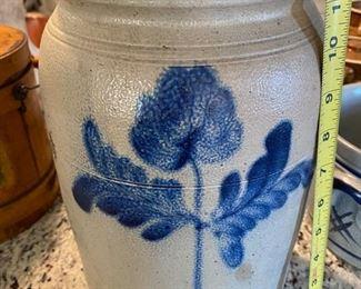 Crock with blue printed flowers
