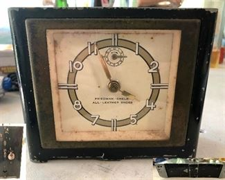 1800s art deco advertising Friedman-Shelby All-Leather Shoes clock