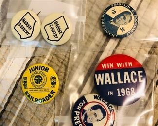Campaign buttons and a Jr Railroader