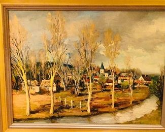 Oil on canvas, village by the river.
