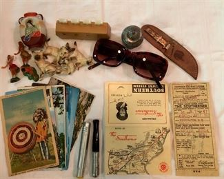Vintage! Postcards, chalk holders, The Southern Railroad System 'ticket', 'Indian' knife, change counter, small cat figures & Hawaiian figures...