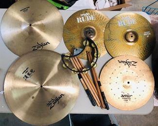 Nice vintage Zildjian cymbals , Paiste Rude Hi-Hat Top and Bottom, vintage drum sticks