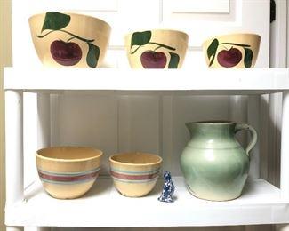 Watts and stoneware bowls, stoneware pitcher