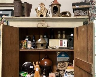Bee Smoker, Assortment of pottery bird house, wood carved Angel, vintage radio and so much more.