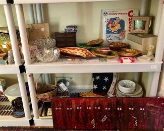 Collection of Treasure Craft  and California Originals ashtrays, folk art by Michael Crawfish Mansuter