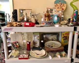 I spy all kings of treasure, Redwing, playing cards, hand fans, coke tray, blue blown glass vase...