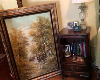 Large oil on canvas painting, one of two bedside tables.