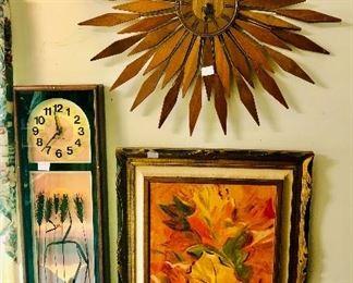 Midcentury modern clocks and artwork