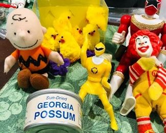 Charlie Brown, vintage Power Rangers, Ronald McDonald finger puppet  all wishing someone would open that can of Georgia Possum and give them a taste! Yummy!!