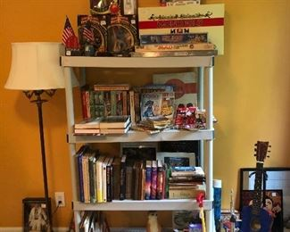 Take your pick! Floor lamp, vintage books, flags, games, toys…