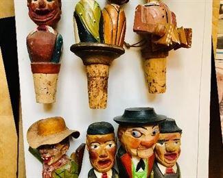 Vintage handed carved wood bottle stoppers