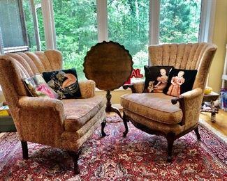 Nice vintage chairs, tilt top table, needlepoint pillows, beautiful rug