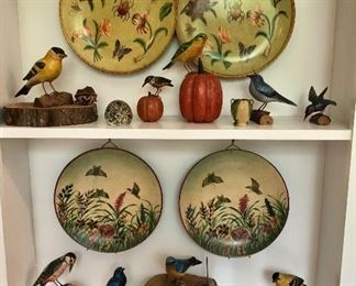 Wood carved birds, paperweights, painted plates