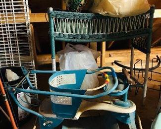 Nice vintage strollers, wicker planter ,