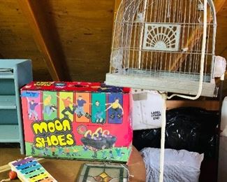 Moon shoes, bird cage on stand, Fisher Price Pull a Tune.