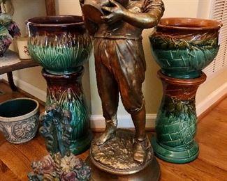 Cast iron door stop,  Boy statue, drinking from jug, two Majolica Jardiniere pedestal sets.