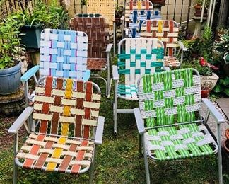 Great assortment of aluminum webbing folding chairs and rockers!