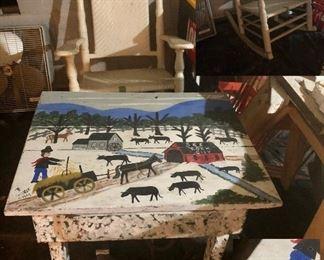 Barbara Wikle painted table, Brumby rocker!