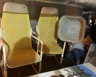 Spring back patio chairs, square galvanized rain catcher