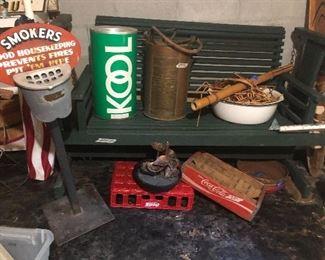 """""""Smokers"""" heavy out door cigarette catcher, Kool cigarette catcher, copper fire extinguisher, Hippie door, coke crate, nice green glider!"""