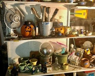 Vintage everywhere! Pottery , Halloween Pumpkins, gazing ball, lots of clay tile…