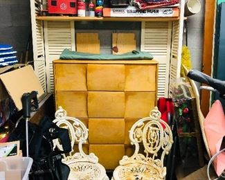 Heywood Wakefield chest of drawers, Iron Works of  Atlanta cast iron chairs and so much more!!