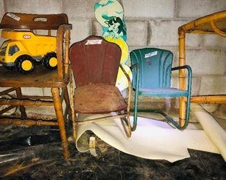 Barrel, oak chair, Tonka truck, two children's metal chairs, bamboo table