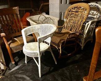 Oak rocker, square wicker chair,  large wicker chair, early 1900's rocker, white rattan chair.