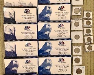 United States Mint 50 State Quarters Proof Sets 1999 thru 2005, United States Mint Bicentennial Lincoln sets, Peace Metal D, Keelboat D, Bison D, Ocean D, Return D nickels, VDB pennies and more