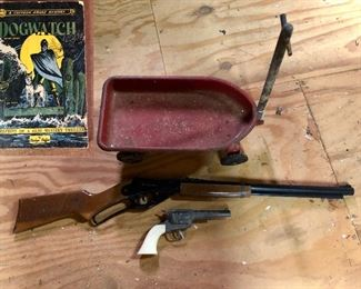 Vintage small toy wagon, Pony Boy cap Gun, Daisy Red Ryder BB gun, vintage book DogWatch