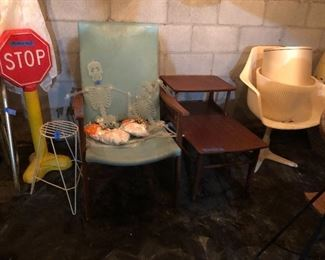 Kids play stop and Go sign, modern chair, Mersman side table, cool chair!