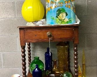 Sock-It-To -Me (Laugh-In) trash can, Jenny Lin side table, colored glass, Santa glasses, yellow glass lamp