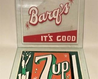 https://www.ebay.com/itm/124736927310TM0005 LOT OF 2 VINTAGE SQUARE GLASS PAINTED SODA BAR SIGNS BARQ'S AND 7UPAuction