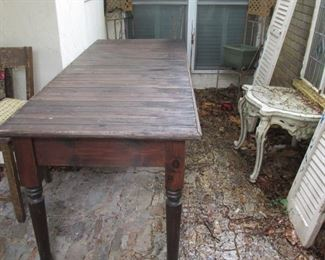 8 Ft. Wooden Slat Top Table