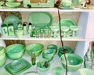 Jadeite kitchen collectibles, Crosley vintage radio, green glassware