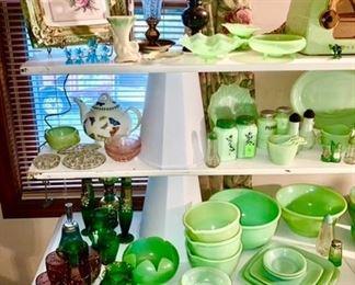 Glassware, Jadeite kitchen collectibles, framed flower print, dresser lamp