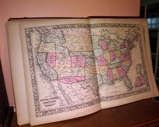 Hand colored map of U S A