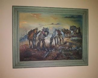 Western oil on canvas board painting by listed artist J. A. Kirkpatrick