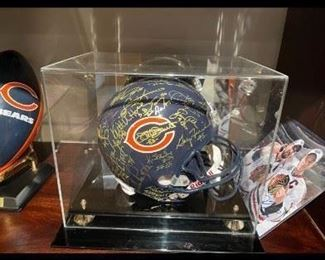 Team signed Chicago Bears helmet with Walter Payton signature