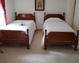 walnut post beds, twin size, free mattresses