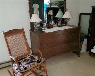 cane seat rocker, antique dressers/mirrors