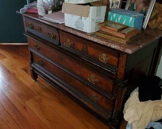 marble top dresser, brass hardware, walnut burl