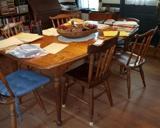 maple and walnut dining table, chairs, butter stamps