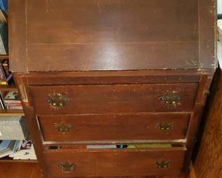 old slant fron desk, red paint, brasses