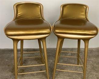 2 Gold Disney Quest Space Age Fiberglass Barstools